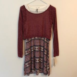 Tank dress w/ off the shoulder sweater NWT size M